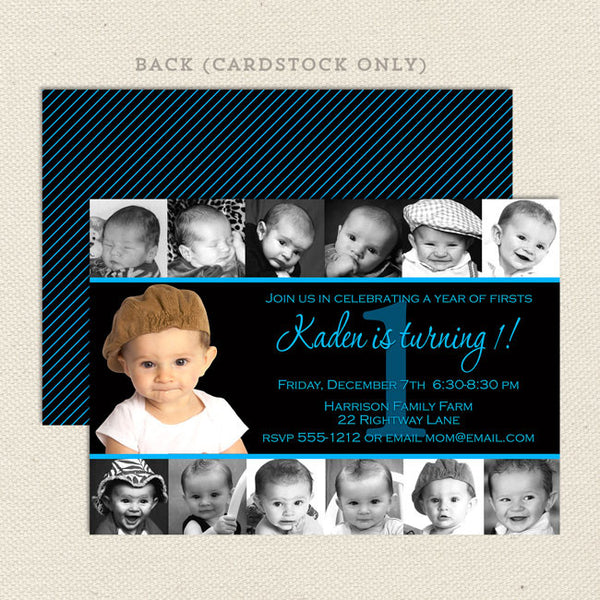 1st birthday collage boy 12 photo printable invitation