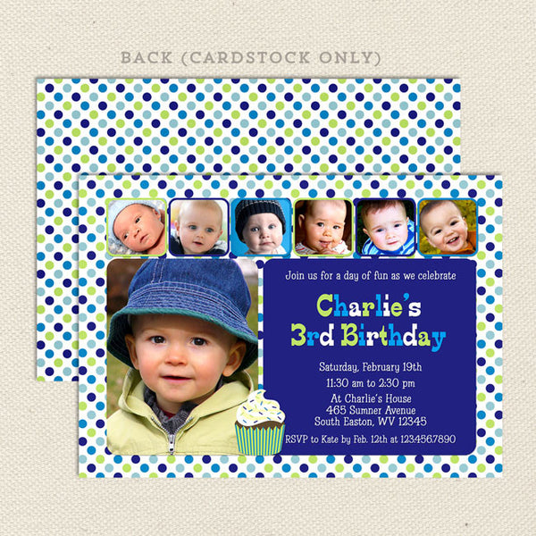 printable 6 photo collage boy birthday invitation
