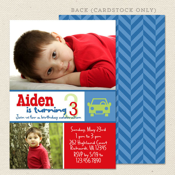 car boy birthday invitation printable