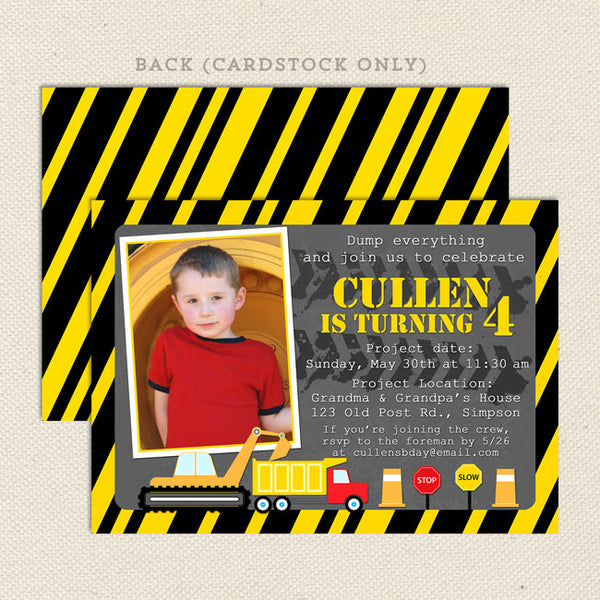 construction boy birthday invitations printable