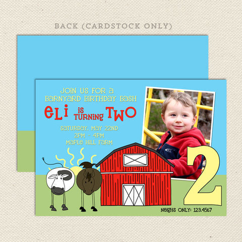 farm barnyard boy printable birthday invitation