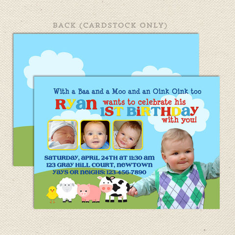 petting zoo farm boy printable birthday invitations
