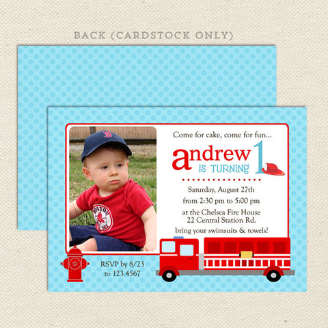 fire engine boy printable birthday invitations