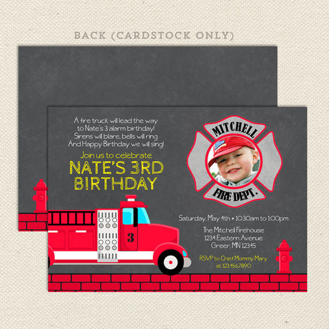 fire truck printable boy birthday invitations