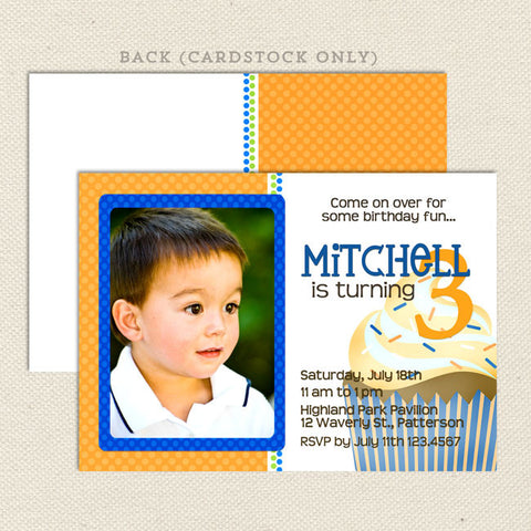 giant cupcake boy printable birthday invitations