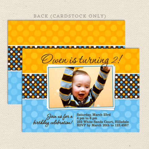 polka dot boy printable birthday invitations