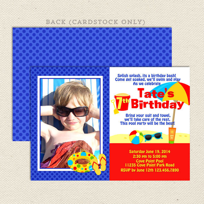 Beach Party Boy Birthday Invitations Lil Sprout Greetings