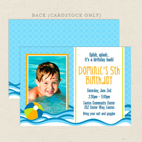 pool party boy printable birthday invitations