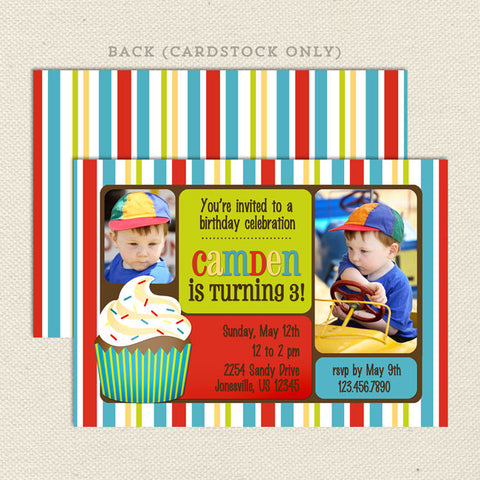 primary stripes boy printable birthday invitations
