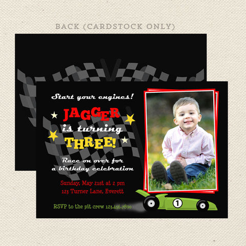 race car printable boy birthday invitations