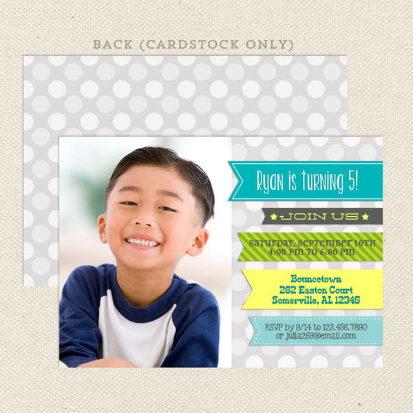 ribbons boy printable birthday invitations