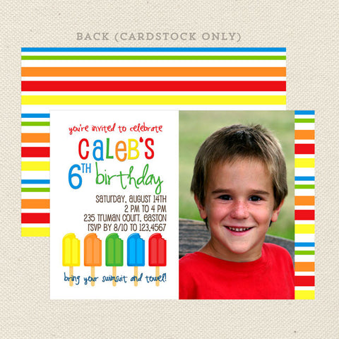 summer popsicle boys printable birthday invitation