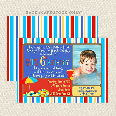swim pool printable boy birthday invitations