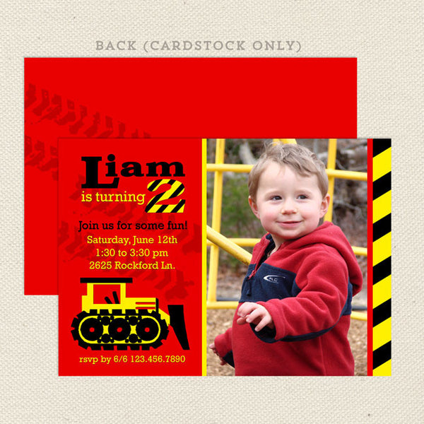 bulldozer boy printable birthday invitations