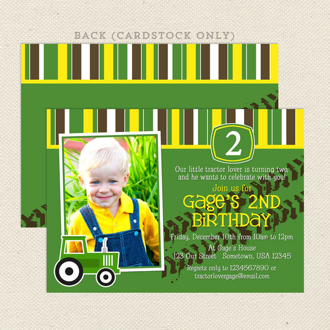 Green Tractor John Deere Boy Printable Birthday Invitation