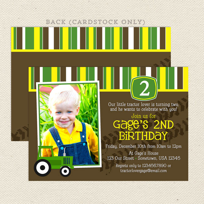 tractor boy birthday invitations – lil' sprout greetings, Birthday invitations