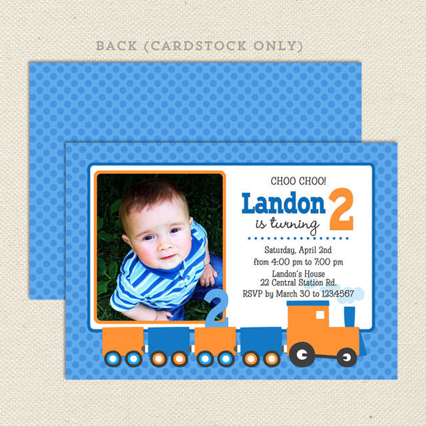 train boy birthday invitations