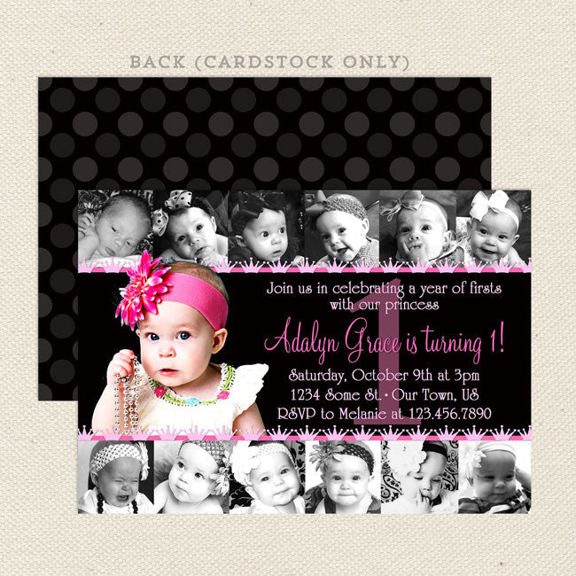 12 photo collage girl birthday invitations lil sprout greetings 12 photo collage printable girl birthday invitations bookmarktalkfo Gallery