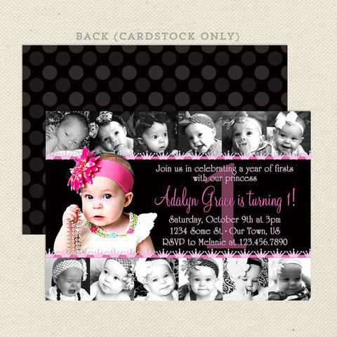 12 photo collage printable girl birthday invitations