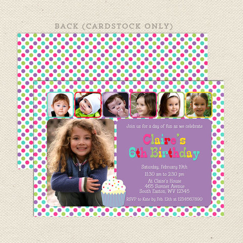6 photo collage girl birthday invitations