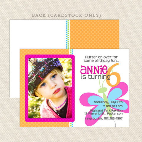 printable girl birthday invitations butterfly