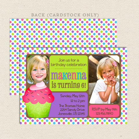 celebrate cupcake girl printable birthday invitations