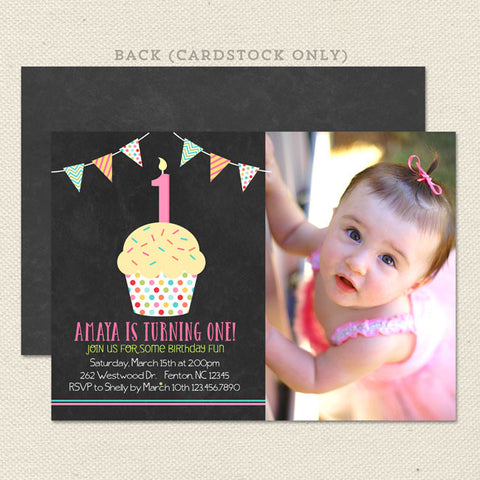 chalkboard cupcake printable girl birthday invitations with photo