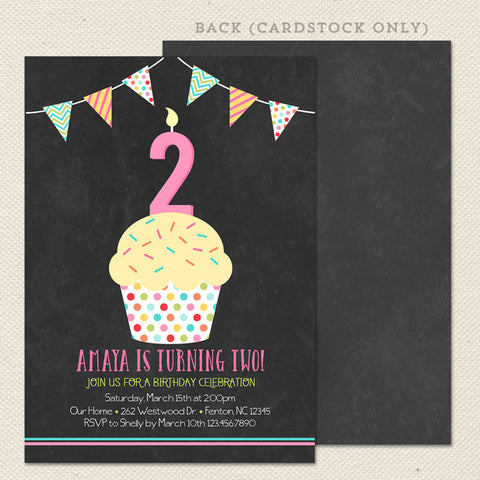 chalkboard cupcake printable girl birthday invitations no photo