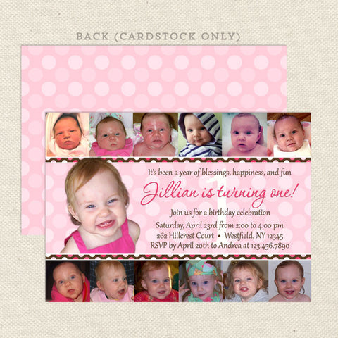 first year photo collage girl birthday invitations