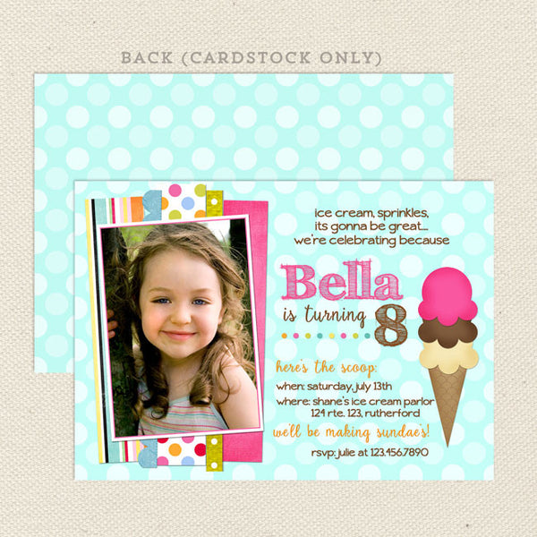 ice cream social girl birthday invitations turquoise printable