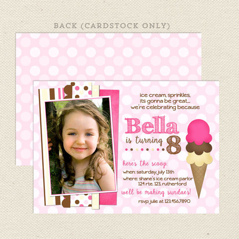 ice cream social girl birthday invitations neapolitan printable