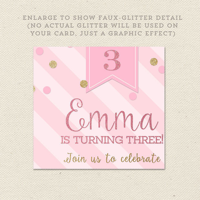 Pink And Gold Princess Birthday Invitation Close Up Detail