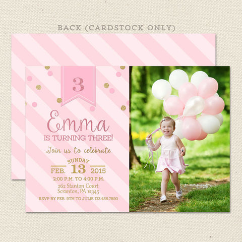 pink gold princess printable birthday invitation girl