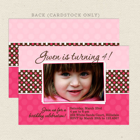 pink polka dots girl birthday invitations