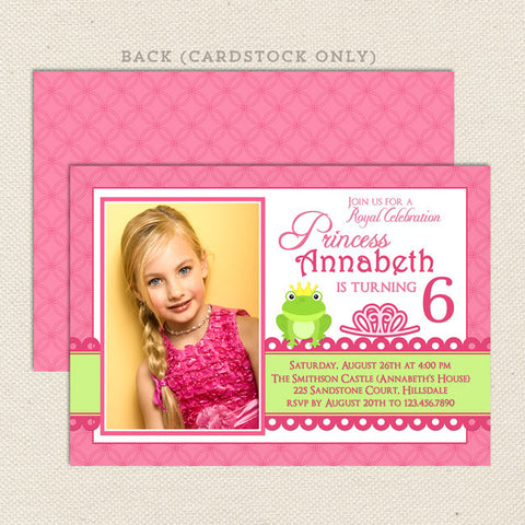 princess frog pink printable girl birthday invitations