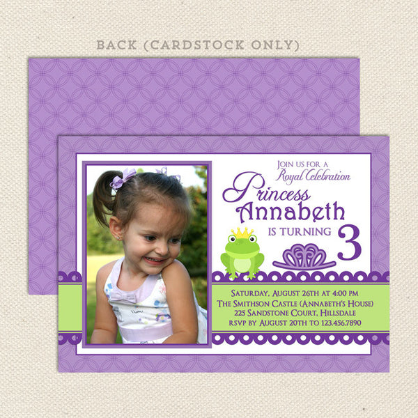 princess frog purple printable girl birthday invitations