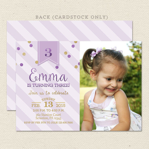 purple gold princess girl printable birthday invitations