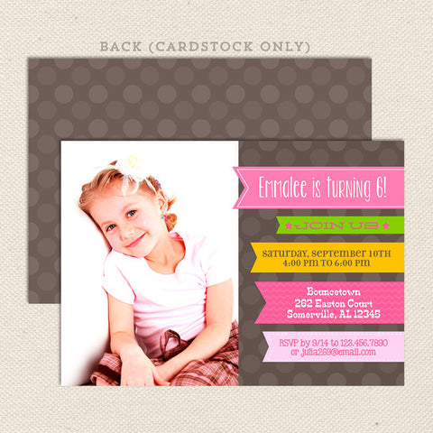ribbon girl printable birthday invitations