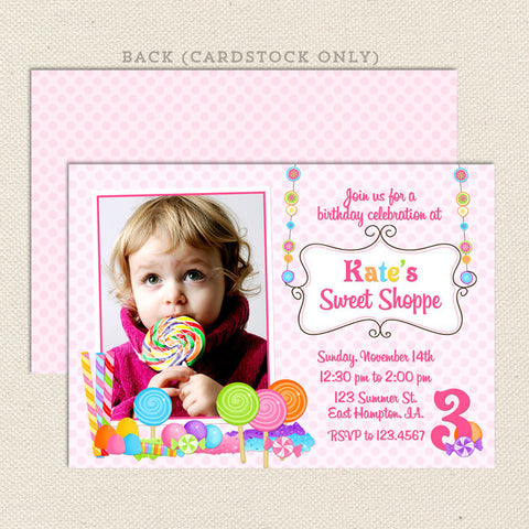 sweet shoppe girl birthday invitations