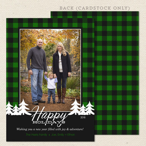 buffalo check plaid green black christmas card