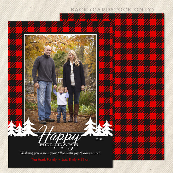 buffalo check plaid red black christmas card