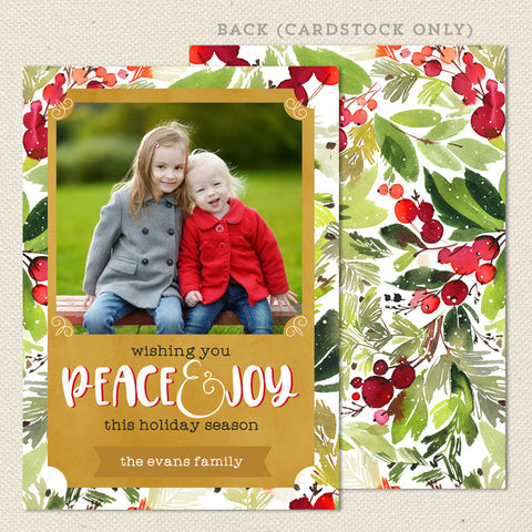 Red Green Holly Berries Christmas Card White