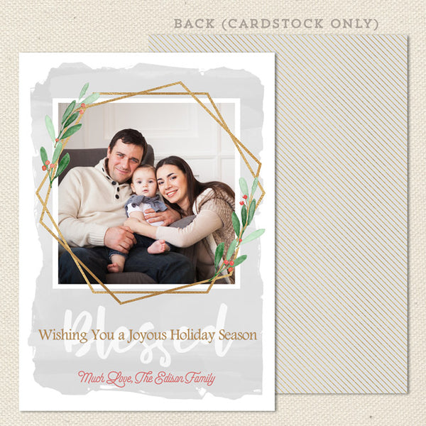 gold polygon modern christmas card gray