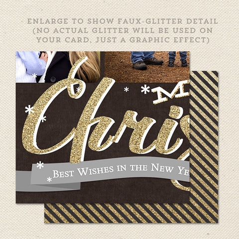 black and gold collage printable christmas card detail