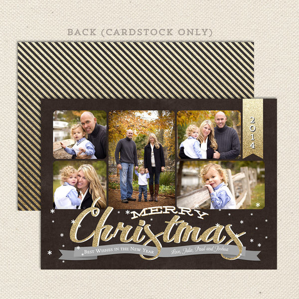 black and gold collage printable christmas card