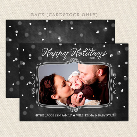 chalkboard snowfall printable christmas card