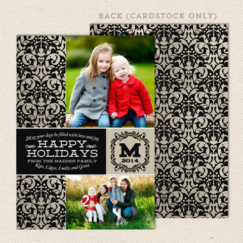 elegant damask printable christmas card