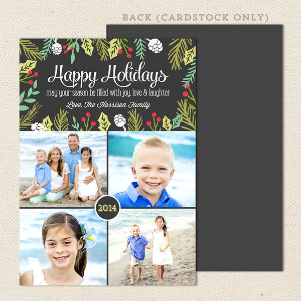festive foliage printable christmas card