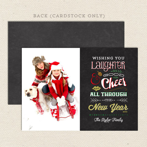 good cheer printable christmas card one photo