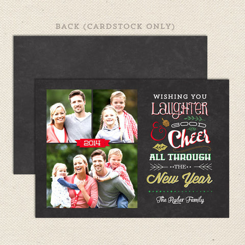 good cheer printable christmas card multi photo